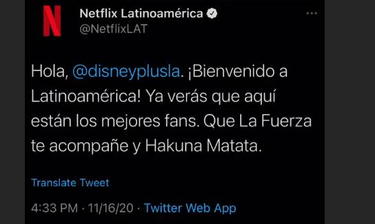 Netflix le da la bienvenida a Disney+