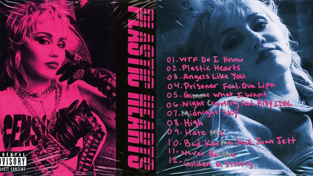"""Miley Cyrus reveló el tracklist de nuevo disco """"Plastic Hearts"""""""