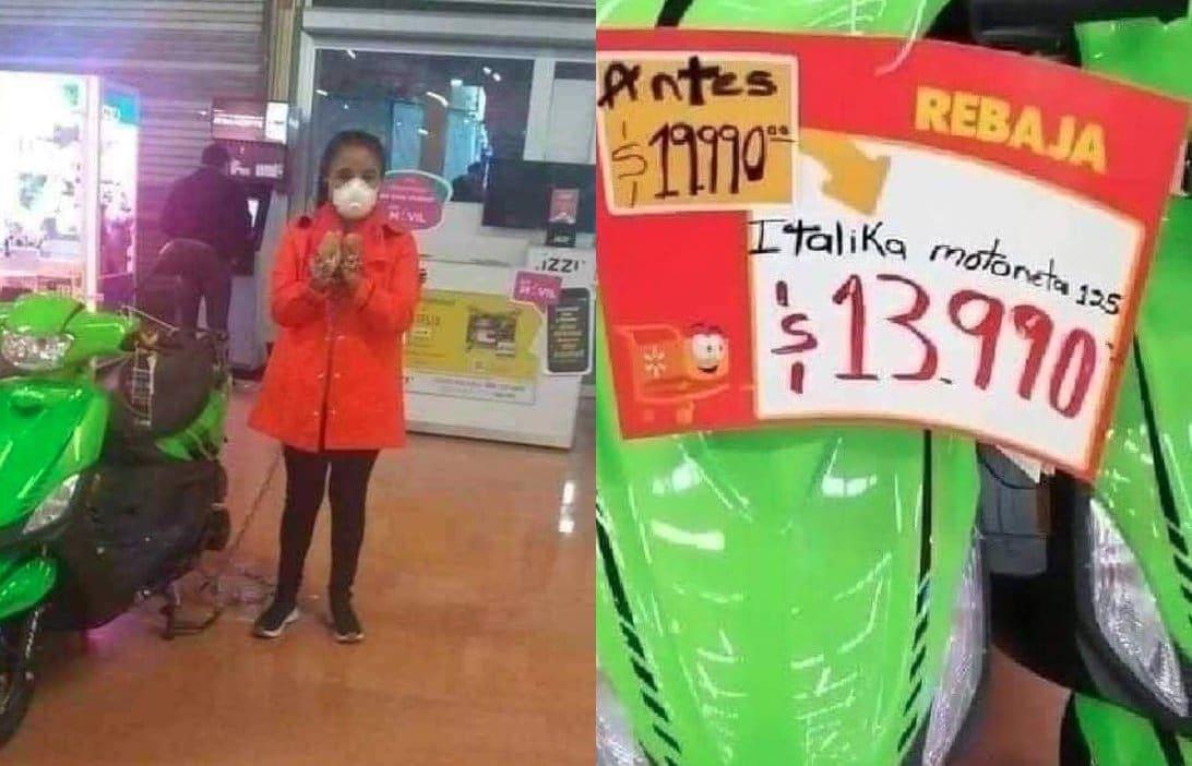 Por error en el precio, Mujer se encadena a motocicleta en una tienda comercial