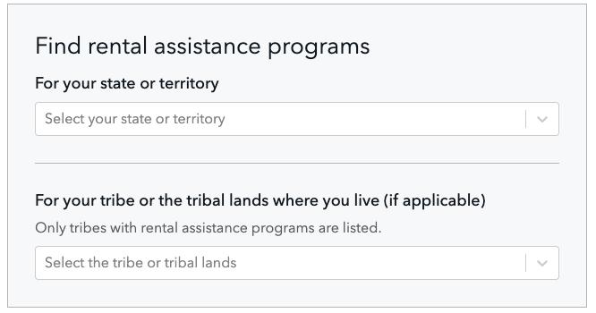 La herramienta para buscar programas de asistencia para el alquiler de la Oficina de Protección Financiera del Consumidor. CFPB Rental Assistance Finder / ConsumerFinance.gov