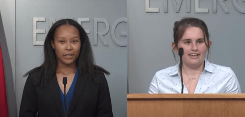Breelyn Dean (derecha) y Lilly Fowler (izquierda), ganadoras de la última ronda de sorteos de la lotería de vacunaciones de Carolina del Norte. Foto NCDPS / COVID-19 Task Force Update 8.18.21