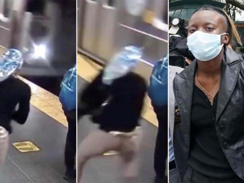 mujer empuja metro New York