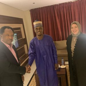 Senator Shehu Sani (L) and the couple | Lanre News