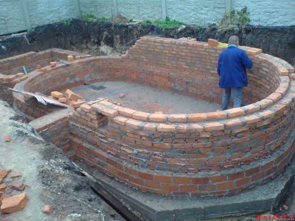 Бассейн из кирпича своими руками - пошаговое строительство