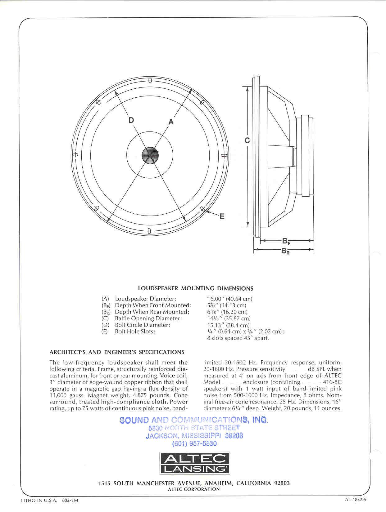 Altec Lansing Model 19 Specs