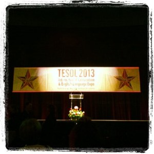 The stage in the arena of the Dallas Convention Centre for #TESOL13