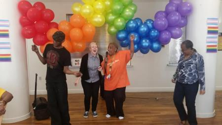 Lantern staff and residents take part in a Pride Week karaoke event