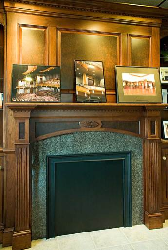 A fireplace surround in the Lantz showroom