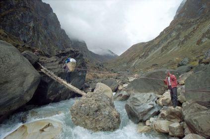 Log across Miristi Khola river