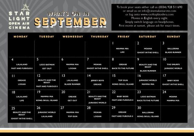 Starlight Cinema September Films