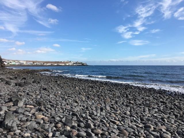 Pebble beach path low tide Playa Quemada