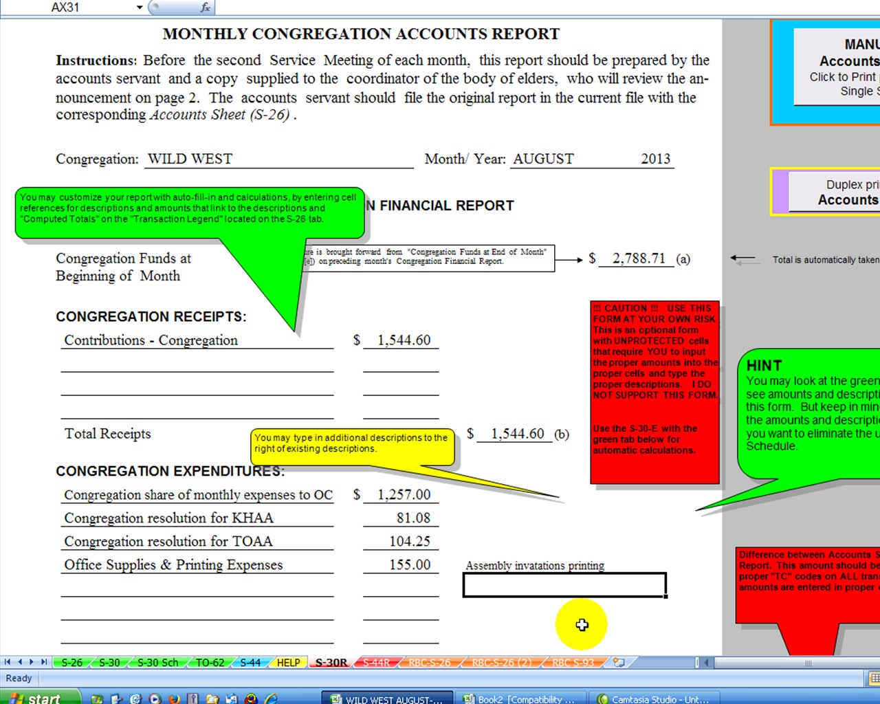 Salon Bookkeeping Spreadsheet