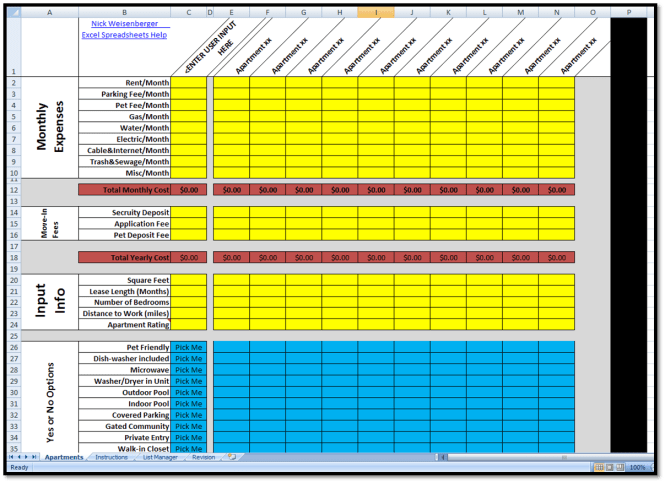 Apartment Comparison Sheet Spreadsheet