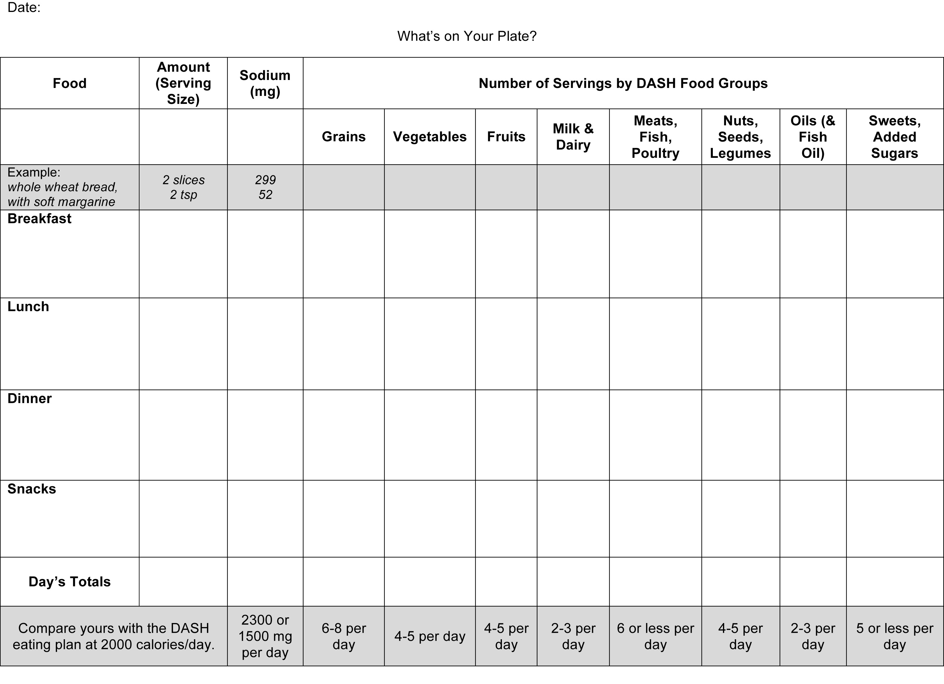Calorie Tracking Worksheet