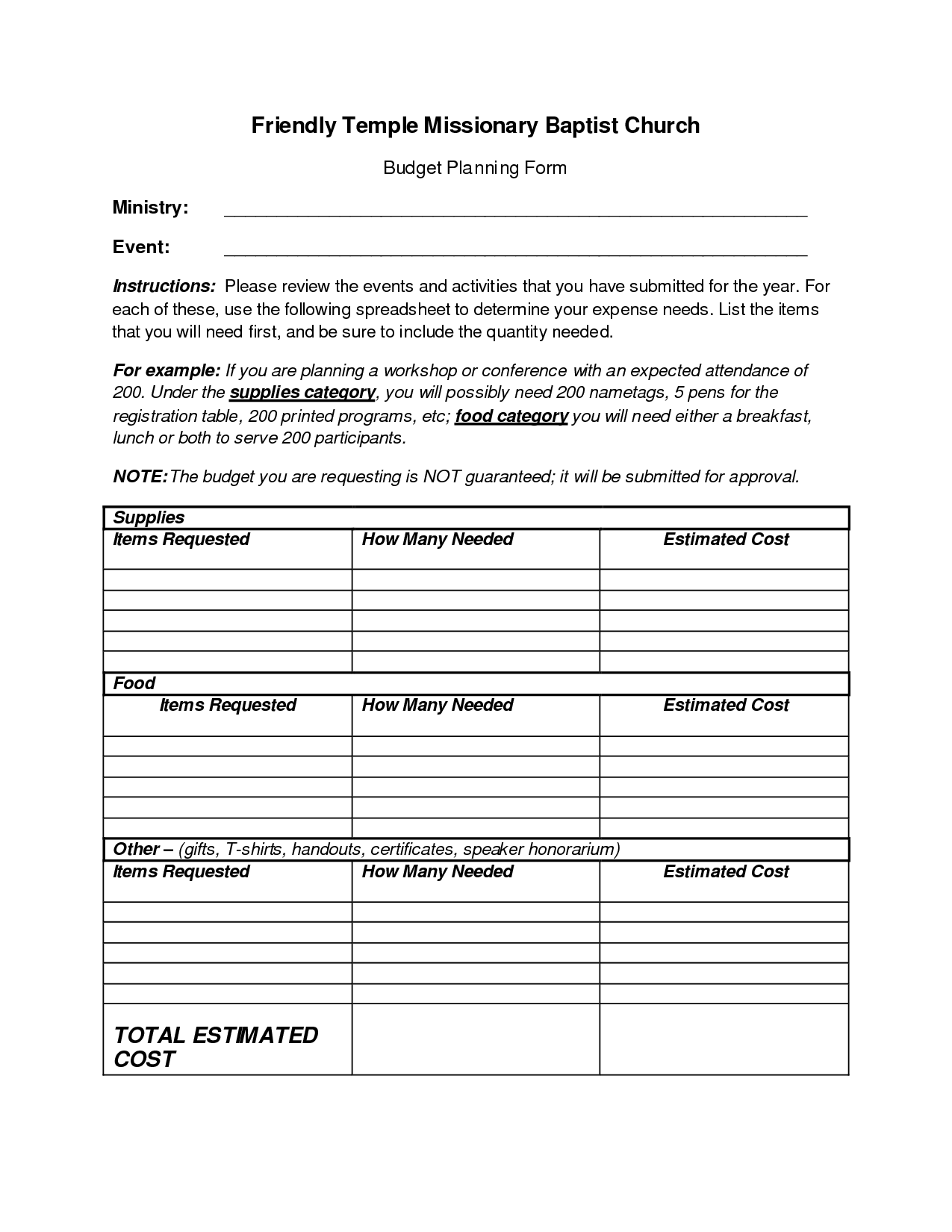 Copy Of Church Budget