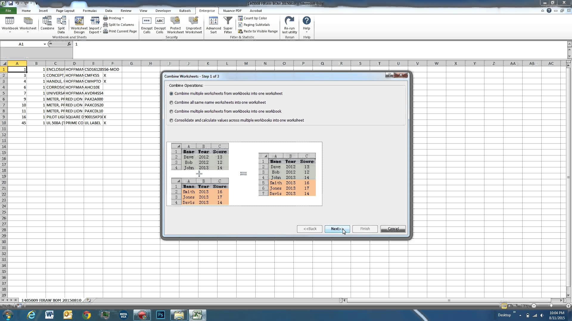 Combining Excel Sheets Into One Sheet