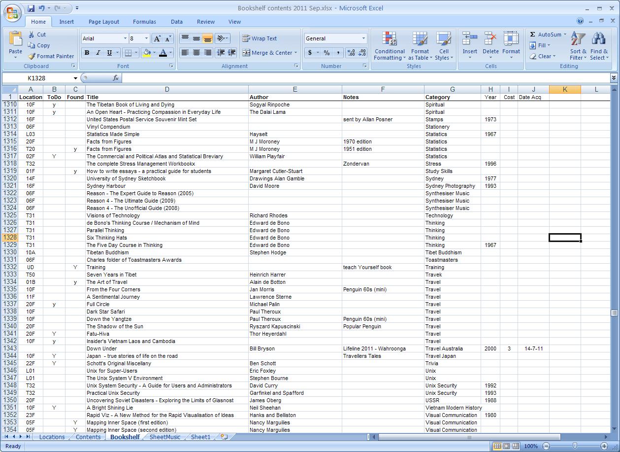 Excel Spreadsheet Parts