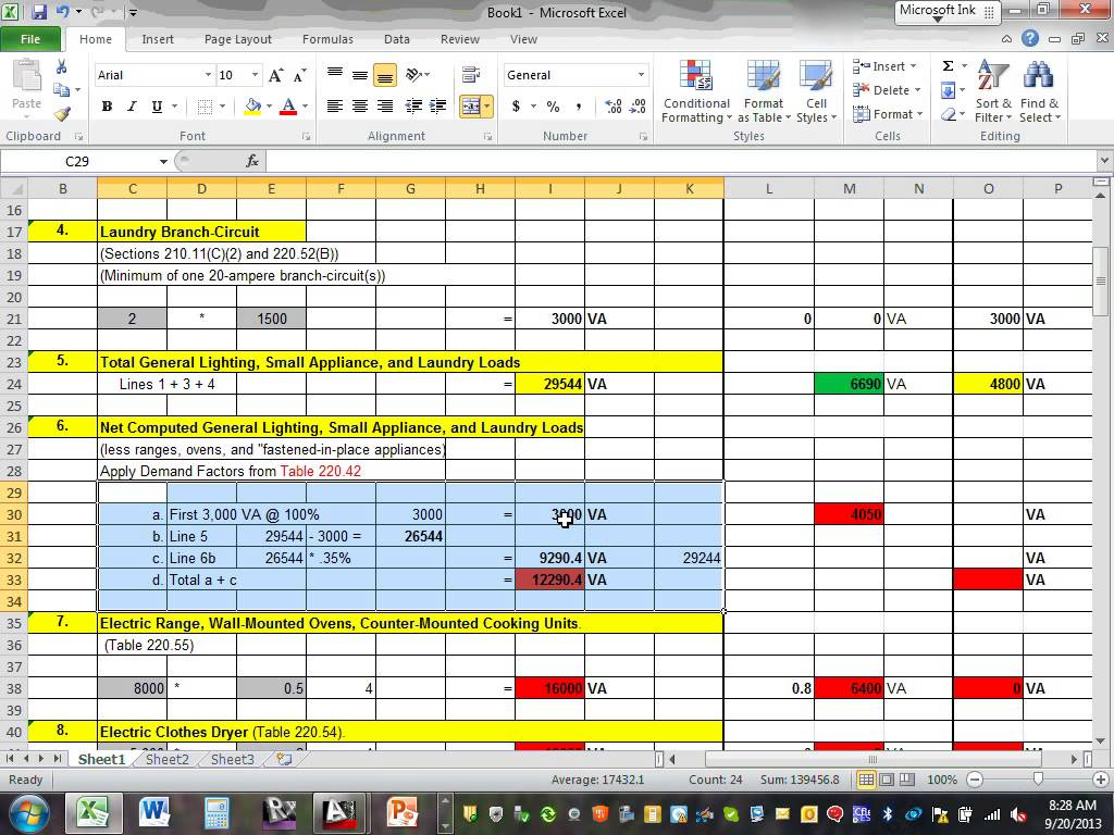 Electrical Load Calculation Spreadsheet