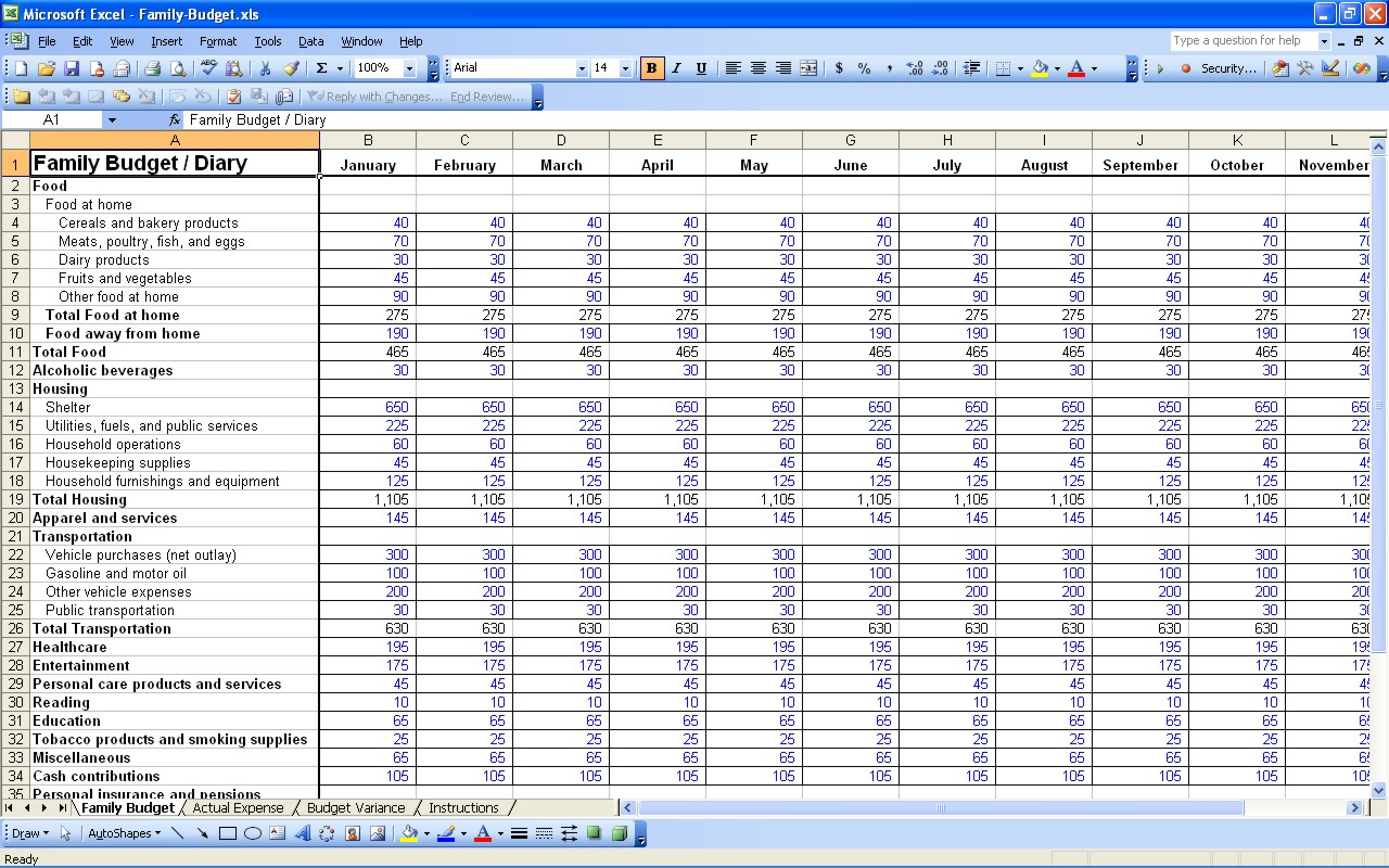 Yearly Budget Template Excel Free