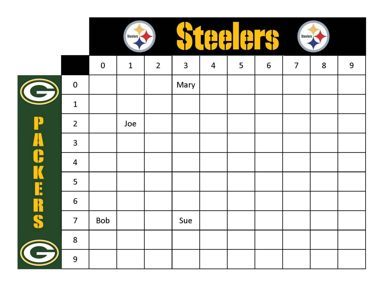 Football Squares Spreadsheet