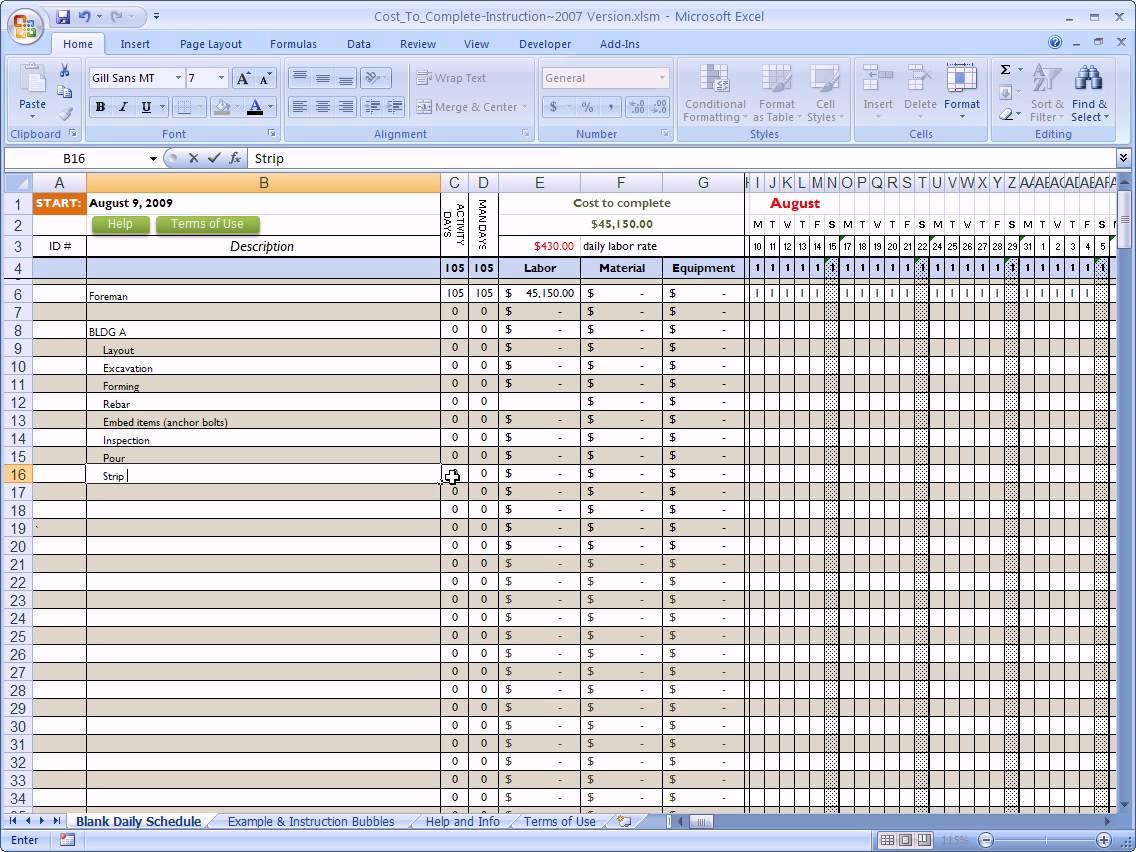 Free Building Construction Estimate Spreadsheet Excel Download Templates
