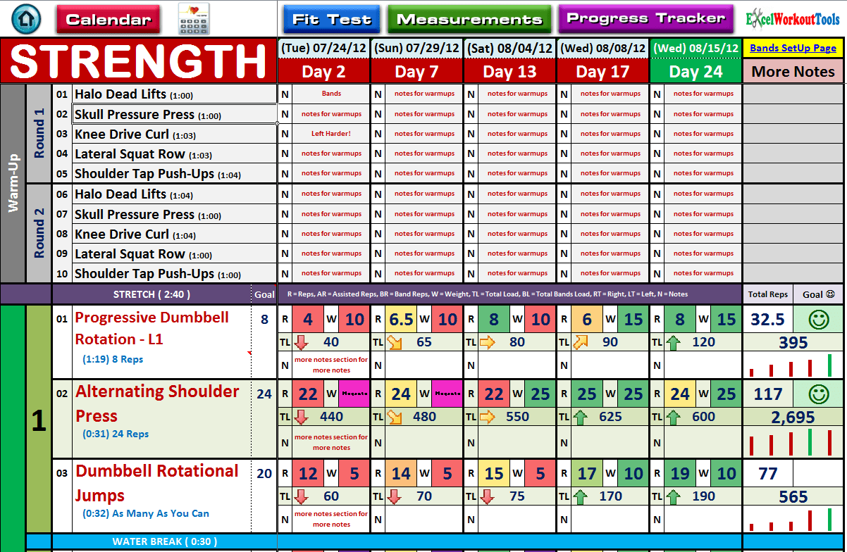 Free Workout Excel Template
