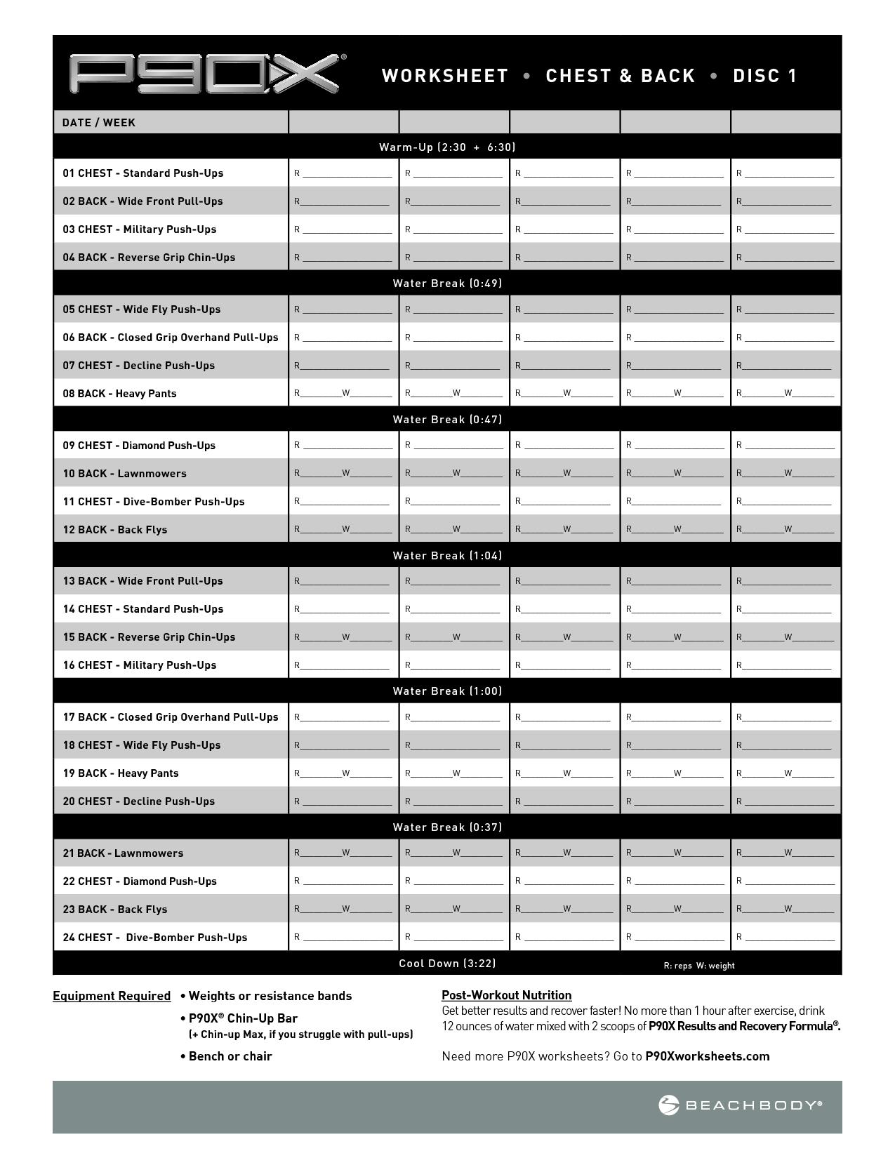 P90x Plyometric Workout Sheet