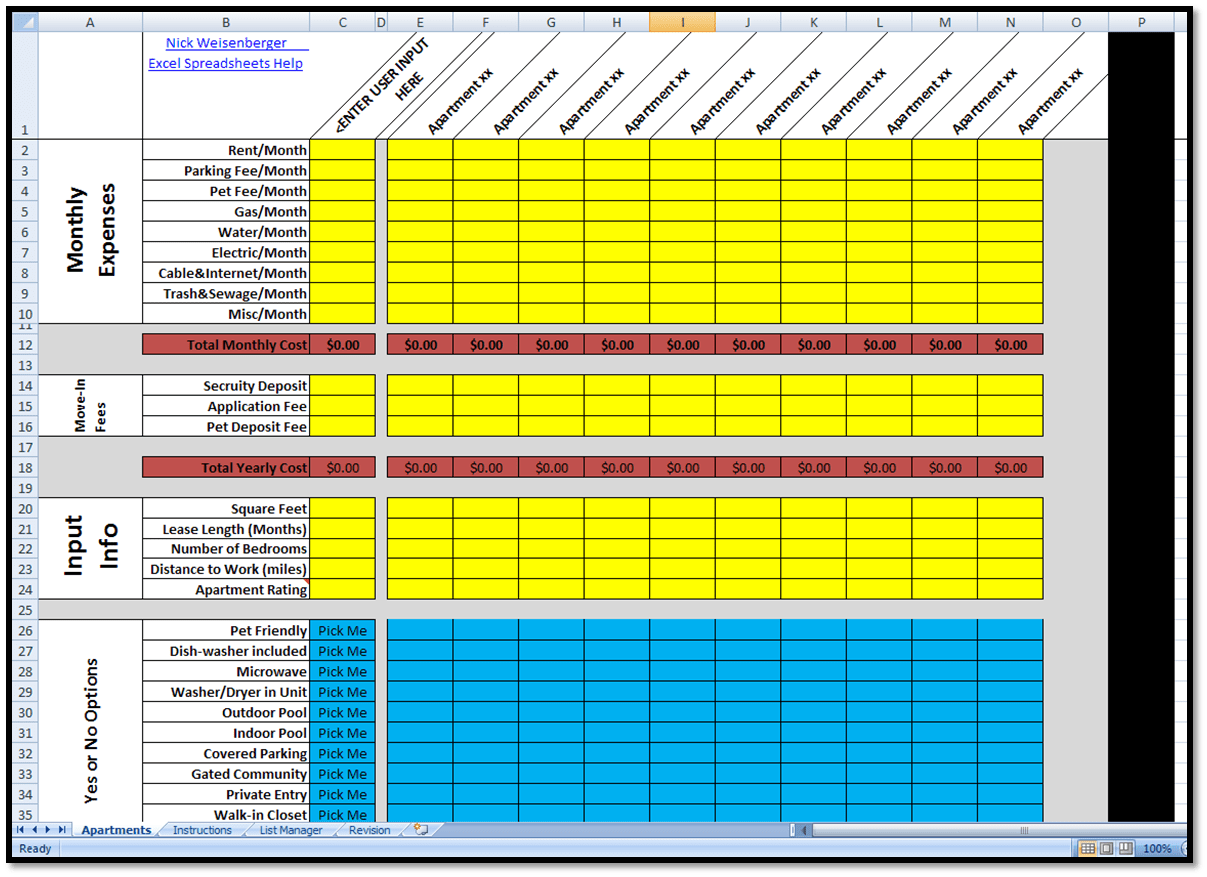Rent Payment Tracker Spreadsheet