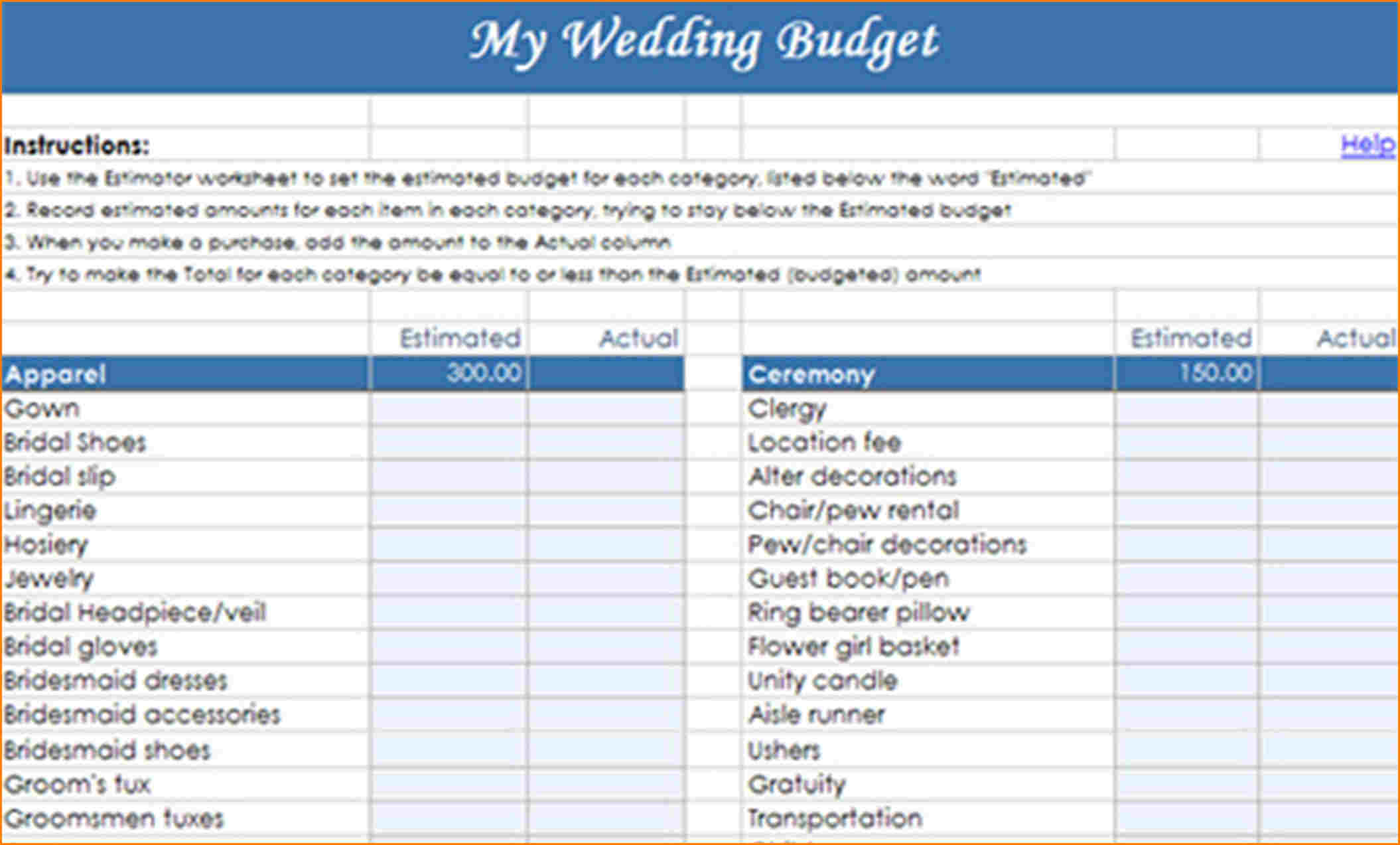 Wedding Budget Worksheet Sri Lanka