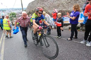 Smiles all round as family and friends cheer over 100 amateur cyclists and cycling legend Sean Kelly across the finish line of the 18th annual, 600km, Tour de Munster charity cycle