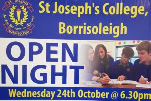 St. Joseph's College Borrisoleigh Open Night Wednesday 24th October