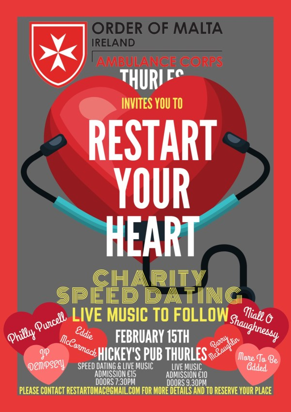 Exciting Line-Up for Valentine's Ambulance Fundraiser in Thurles