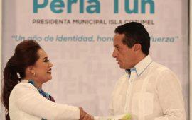 Perla y CJ firman acuerdo para base de Policía Estatal en Cozumel