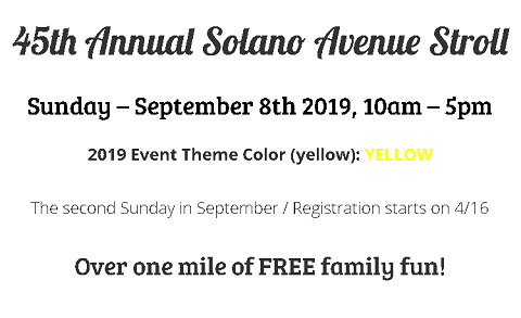 45th Annual Solano Avenue Stroll on 9/8.