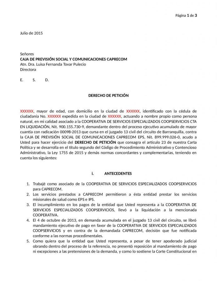 DERECHO DE PETICION CONTRA CAPRECOM