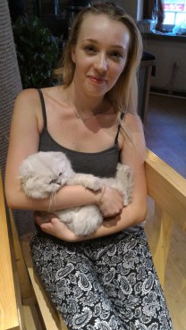 Anna and a squish-nosed cat. He was very comfy. Almost fell asleep