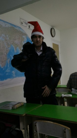 Australian English teacher playing Santa