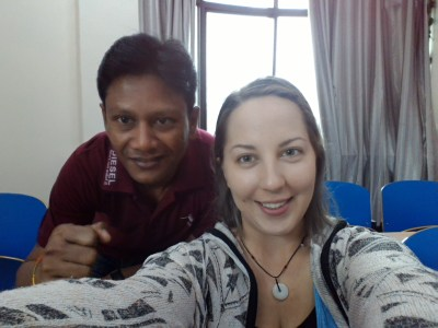 Me and my classmate from India... whose name I will butcher if I try to spell it. Super nice guy!