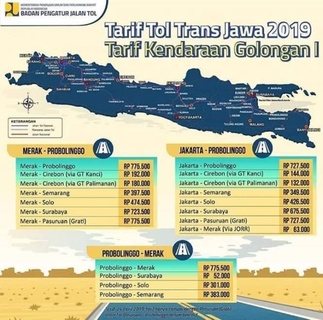 Gambar Info Tarif Tol Trans Jawa Terbaru untuk kendaran golongan 1!