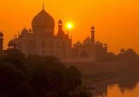 Pemandangan sunset di Tajmahal India