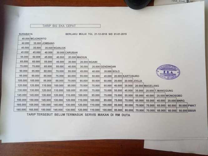 Informasi Tarif Harga Tiket Bus Eka Terbaru.