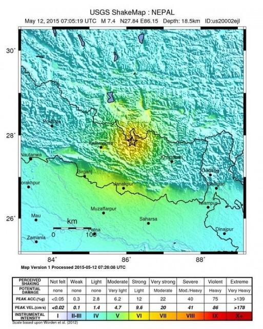 Peta gempa nepal