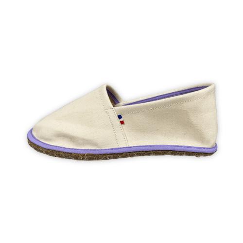 chausson beige et violet