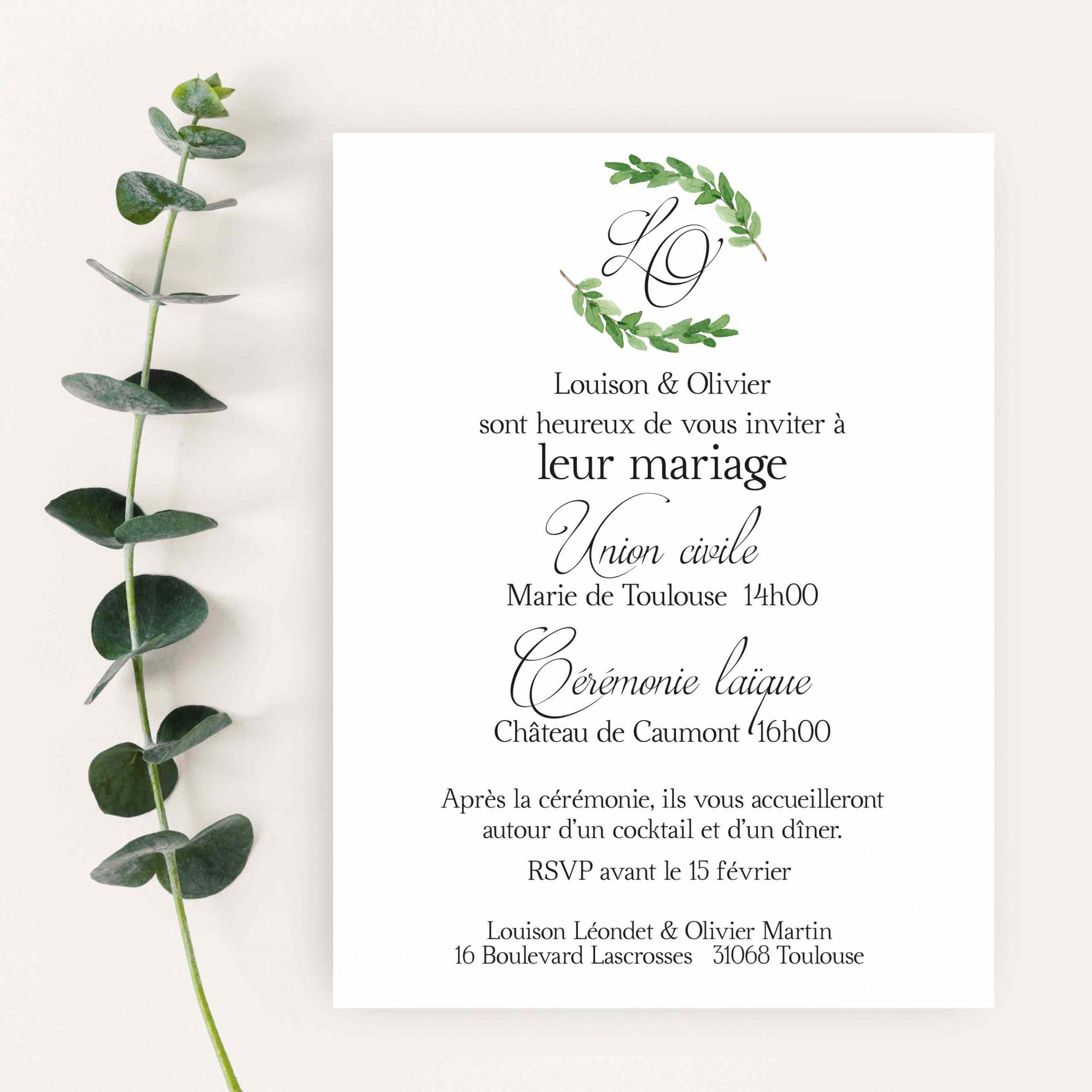 faire part mariage collection calligraphie
