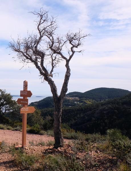 Panneau d'indication pour la randonnée au Rocher des Monges
