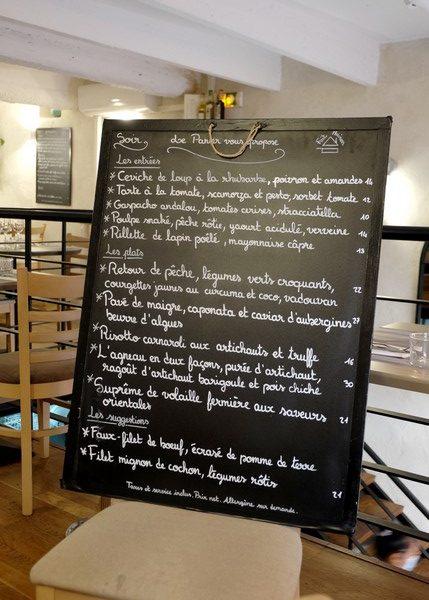 Carte du restaurant Le Panier à Nice