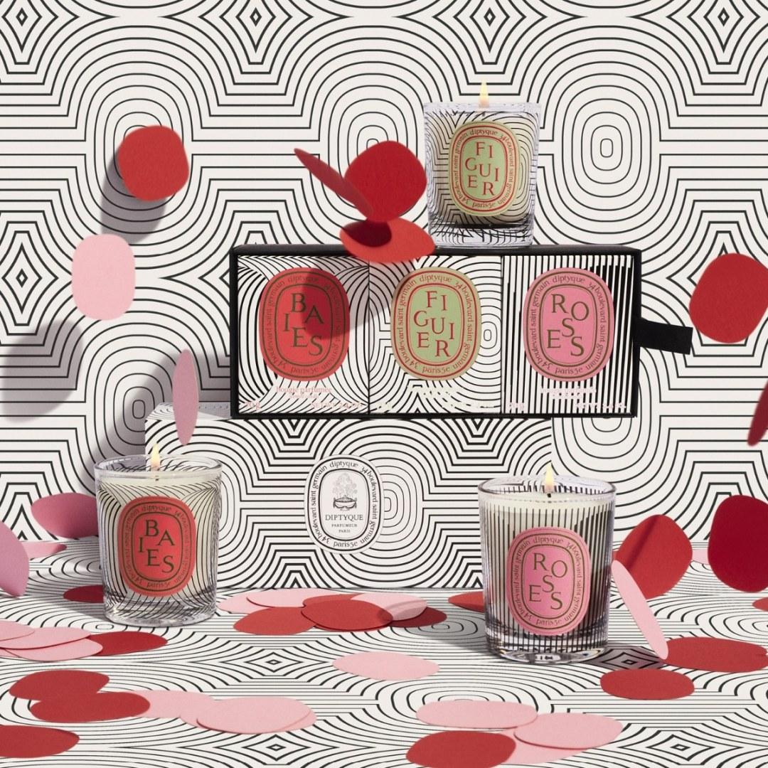 Bougies parfumées Diptyque. Baies, Figuier et Roses.