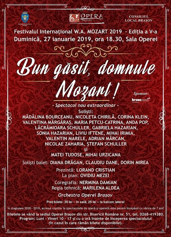 Începe cea de-a cincea ediție a Festivalului Internațional Wolfgang Amadeus Mozart la Opera Brașov!