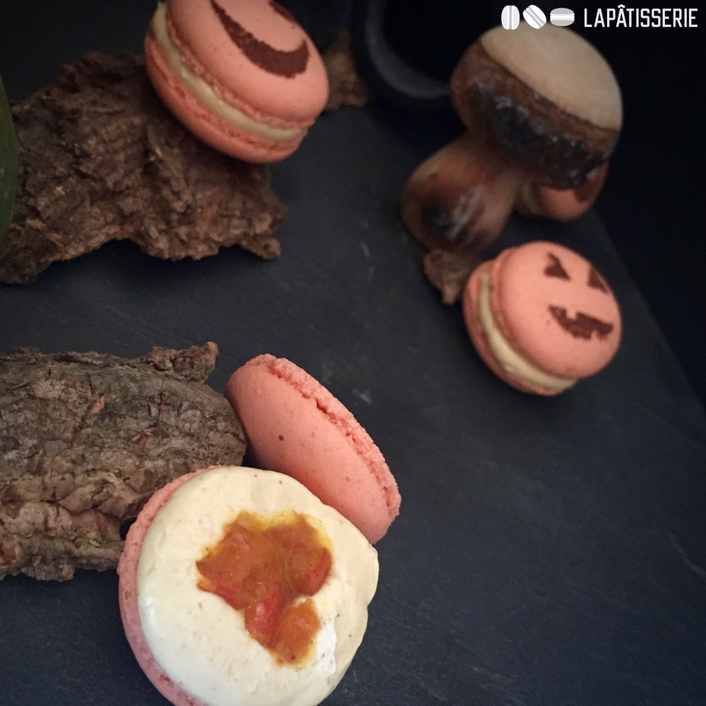 Das leckere Innenleben meiner Pumpkin Spice Macarons.