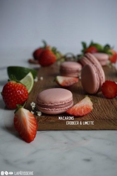 Von diesen fruchtigen Macarons kann man nicht genug bekommen: Erdbeere und Limette kombiniert.